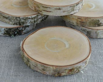 4 inches Birch Wood Coasters, Birch Wood Slices, Birch Drink Coaster, Rustic Table Decor, Rounded Birch Coasters