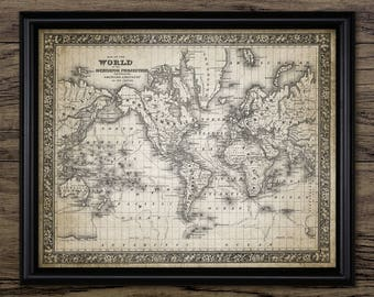 World map vintage etsy ca antique world map print 1860 world map wall art world map design chart sciox Gallery