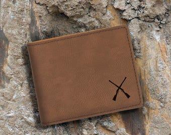 Engraved Bifold Wallet-Personalized Hunting-Mini Size Art Work-Dark Brown Wallet-Rifle