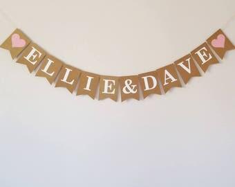 Personalised wedding bunting, Engagement party decoration