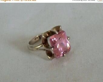 CLEARANCE Huge Mexico Sterling Pink Topaz Ring, Mexico signed ring, sterling silver pink gemstone gift for her Gingerslittllegems