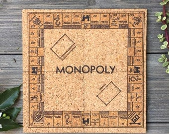 Vintage Monopoly Board Game Themed Cork Coaster Set of 4