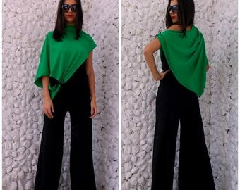 SALE 25% OFF Black Jumpsuit with Green Bolero / Jumpsuit Women / Dress Jumpsuit TJ02