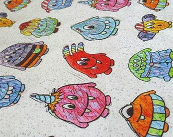 Stained glass monsters, Jersey fabric