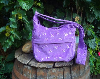 Lilac floral corduroy shoulder bag,zippered bag