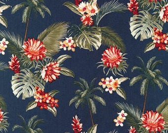 Island Paradise by Sevenberry for Robert Kaufman - Palm Trees and Flowers Navy | PRE-ORDER Fabric | Quilting, Sewing, Home Decor Supplies