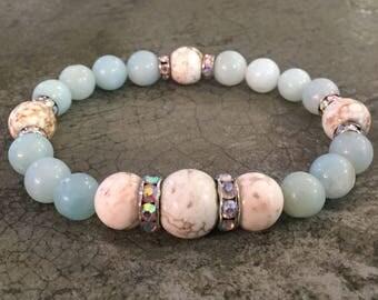 Amazonite & Natural Howlite Stretch Bracelet