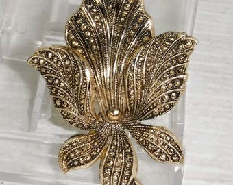 Vintage 1960s Eloxal Aluminum Iris Flower Brooch or Pin Made in Germany