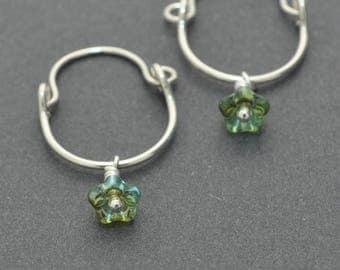 Sterling Silver Hoops, Flower Hoops, Flower Earrings, Dangle Hoops, Small Hoops