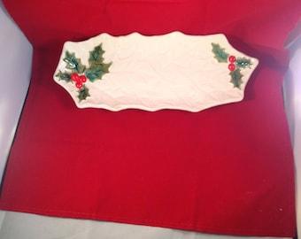Vintage Lefton White Holly Oblong Christmas Trinket Candy Dish