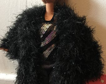 Oversize fun fur coat to fit barbie size doll