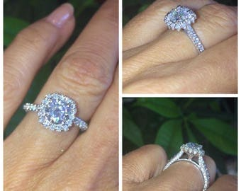 Moissanite Halo Engagement Ring 1.0ct Round Forever One Cololress Ring .85ct Natural Diamonds 18k white gold Pristine Custom Rings