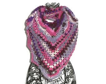 Crochet shawl, Bohemian chic shawl, shawl boho shawl wool shawl boho shawl fashion, Bohemian shawl, pink ombre shawl, romantic shawl