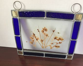Vintage Stained Glass with Pressed Flowers
