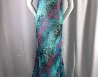 "Teal tie dyed chiffon 58"" wide-multi color floral print-super soft sheer-100% polyester-apparel-fashion-decorations-dresses-sold by the yard"