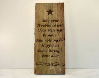 Troubles Be Less Barnwood Sign (Vertical)