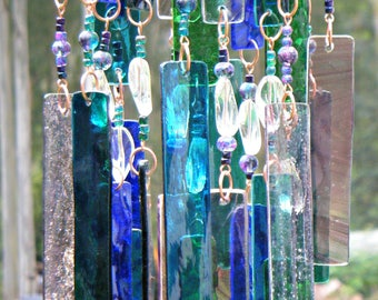 Glass Wind Chimes, Handmade, Green, Blue and Amethyst variations and glass beads