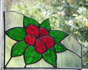 Red Flower and Green Leaves Stained Glass  LEFT Window Corner, Accent