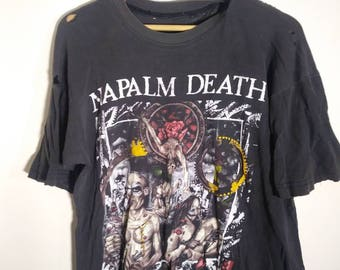 Vintage Napalm Death T Shirt trashed large