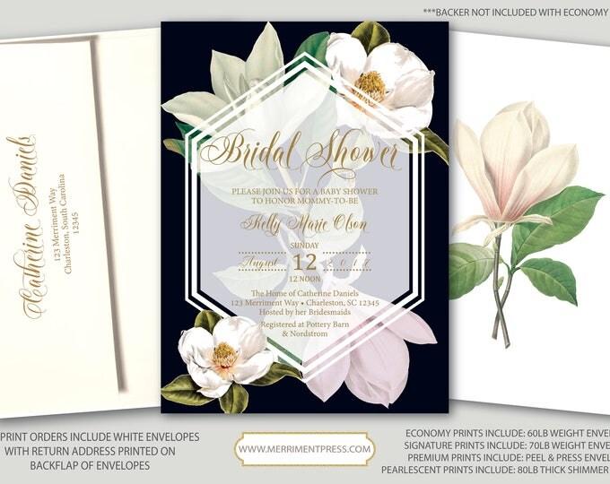 Magnolia Bridal Shower Invitation / Magnolias / Botanical / Navy / White / Greenery / Southern Bridal Shower / CHARLESTON COLLECTION
