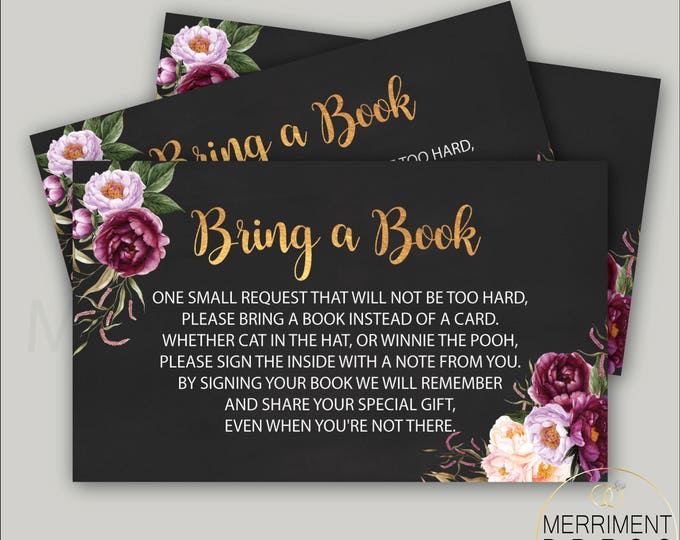 Burgundy loral Bring a Book Card // Gold // Watercolor // Marsala // Chalkboard // Peony // Pink // Purple // Printed // FLORENCE COLLECTION