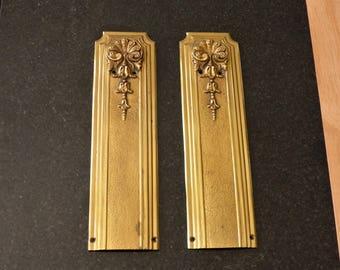 PAIR Vintage French Heavy Solid Bronze Door Finger Push Plates   Door  Furniture   Restoration Hardware