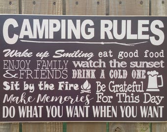 Custom Wood Camping Rules Sign, Camp Rules, Camp Sign, Camping Sign, Camp Subway Sign, Camping Rules
