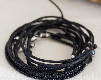 Total black, Nuovo Braccialetto wrap, Bracciale donna, Gioiello donna,gioiello unisex, gioiello artigianale, bracciale quattro fili