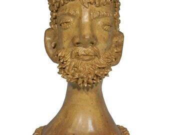 ZEUS - Greek God Of Olympus, Hand Built Stoneware Head Vessel, 2013