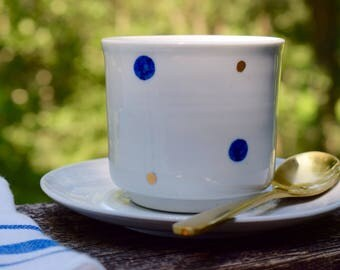 Porcelain Teacup, Handmade Ceramic Teacup, Blue and White Porcelain, Blue Dots, Wheel Thrown Pottery, Modern Ceramics, Ceramics and Pottery