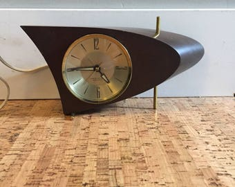 Mid Century Modern Westclox atomic wooden boomerang electric clock crazy Sale ! Was 175