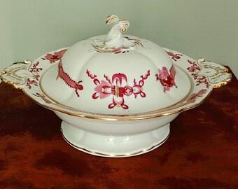 Antique Meissen Porcelain Pink Court Dragon Covered Bowl