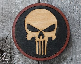 Punisher Wood Coaster | Rustic/Vintage | Hand Stained and Glued | Comic Book Gift | The Defenders