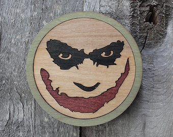 Joker Wood Coaster | Rustic/Vintage | Hand Stained and Glued | Comic Book Gift | Batman Villain