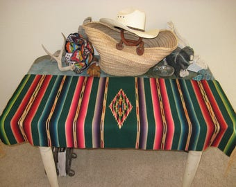 GREEN Wool SERAPE Mexican RUNNER Mexico Southwestern Southwest Tribal Aztec Vintage Weaving Folk Art Beauty!