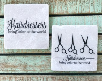 Hairdresser, Hair Stylist Coasters, Set of 2, Tumbled Marble, Salon, Beauty, Makeup Artist, Haircolor, Gift Ideas, Hair Quotes