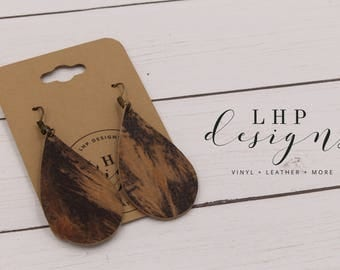 Owl Feathers on Camel Cowhide Earrings