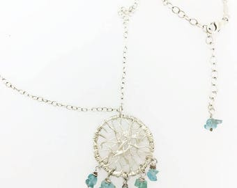 """Dream Catcher Wire Necklace in Sterling Silver Apatite Beads with 18""""chain \ 925 Silver  Necklace"""