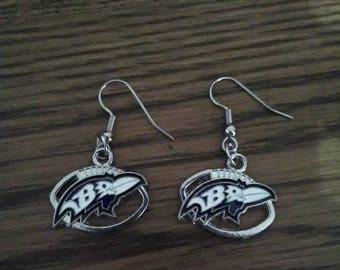 Baltimore Ravens football earrings