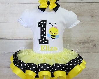 Bee First Birthday Outfit, Girls First Birthday Tutu, Girls Bee Birthday Outfit, It's My Bee Day Outfit, Bumble Bee Birthday Set