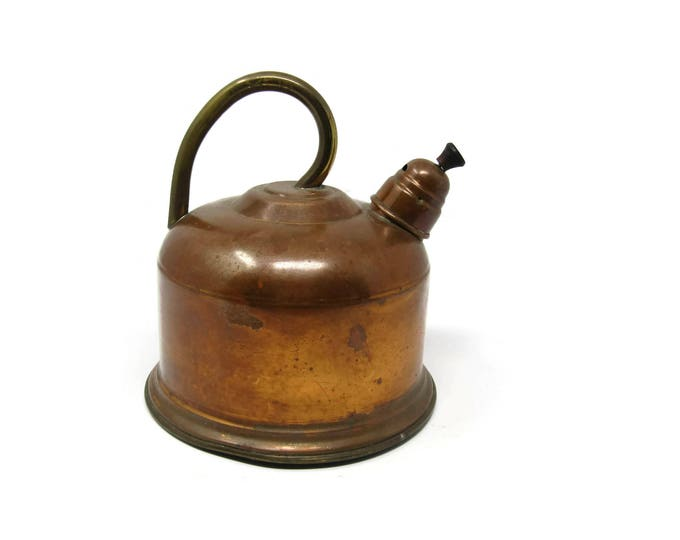 Vintage Old Dutch Solid Copper TEA POT KETTLE - Made in Portugal - Rare Solid Copper Whistling Tea Kettle - Steampunk Kitchen