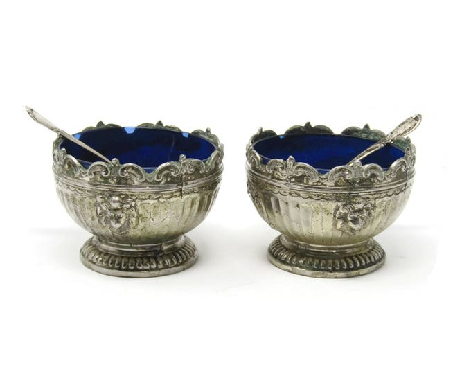 Antique Salt Cellar with Spoon - Silver Plate with Cobalt Glass Insert from Corbell & Co - Open Salt or Nut Dish