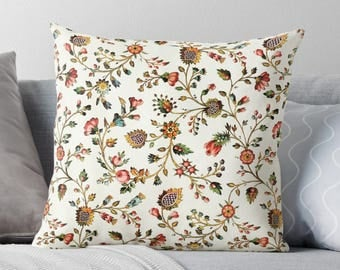 Calico Pillow, French Provincial, Calico Pillow Case, Floral Throw Pillow, Old Fashioned Decor, Flower Pillow Case, Calico Cushion