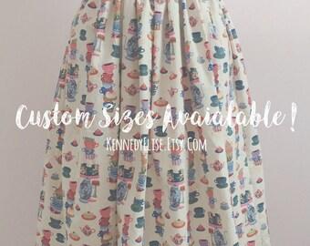 Custom 1950s 50s Inspired Novelty Print Full Gathered Skirt | Mid Century JW Modest Skirt |  Retro Tea Party Whimsical Skirt