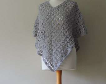 Summer Poncho 100% Cotton in Light Grey