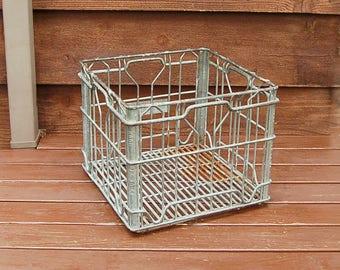 Wire Milk Crate, Vintage Heavy Galvanized Wire Crate, Milk Bottle Crate, Hood Milk Crate Farm Crate