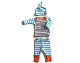Newborn boy take home outfit, baby boy coming home outfit hospital outfit, Triangles stripes, gray aqua orange