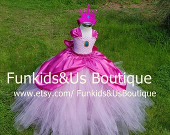 Princess Peach inspired Tutu Dress  Birthday Outfit, Halloween Costume- Girls Size 6 12 18 Months 2T 3T 4T 5T 6 7 8 10 12