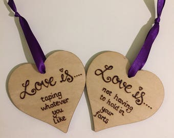 Pair of Wooden Hearts, Handburned, Personalised, Any Wording,8cm Hearts, Hanging Hearts, Pyrography, Quotes, Wedding Gift, Anniversary