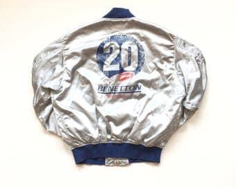 90s Benetton jacket united colours of benetton satin jacket mens small size 44 benetton full zip